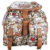Miss Lulu Designer Oilcloth Owl Rucksack Backpack Bag - Pink