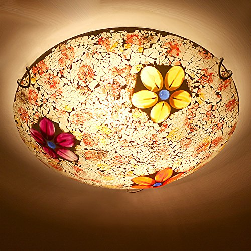Glasmalerei Deckenleuchte (KHSKX Östliches Mittelmeer Stil Glasmalerei Deckenlampe Deckenleuchte Schlafzimmer handmade kreativ romantischen Balkon Flur Leuchten , l --50cm)