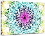 Mandala Format:60x40 cm Bild auf Leinwand bespannt, riesige XXL Bilder komplett und fertig gerahmt mit Keilrahmen, Kunstdruck auf Wand Bild mit Rahmen, günstiger als Gemälde oder Bild, kein Poster oder Plakat