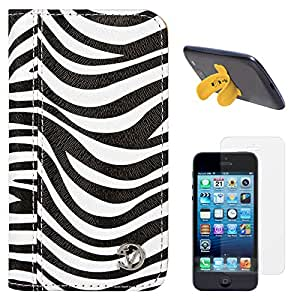 VanGoddy Zebra Print Mary Portfolio Self Stand Case Cover For Apple iPhone 5S / 5G (White) + Touch U Silicone Stand + Matte Screen