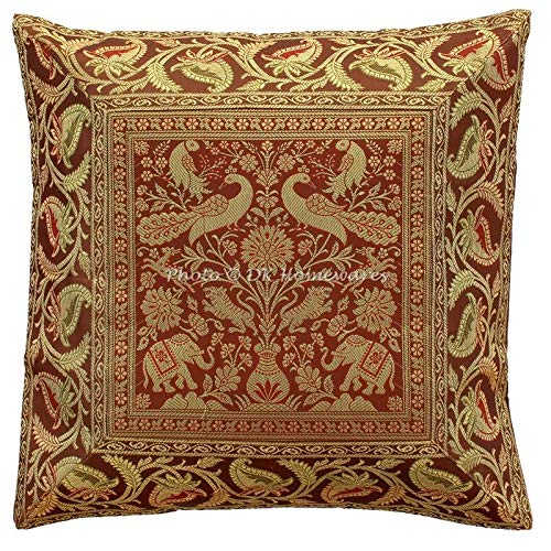 DK Homewares Brokat Bohemian Brown Sofa Dekokissen Abdeckungen 40 x 40 cm Brokat Jacquard Elefant Peacock Square Dekokissen Covers 16 x 16 Home Decor Einzelstück -