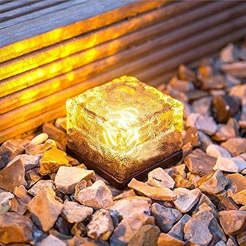 KuSiLe Set von 2 Solar-Eiswürfel-Felsen Licht LED matt paarbaster Garten im Boden vergraben Licht für Draussen-Pfad Straße Hof (Warmweiß)