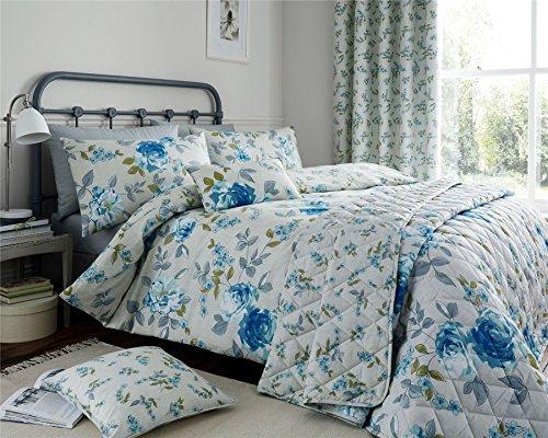 Floral Blumen Blätter blau grün, 200TC Doppel-7-teiliges Schlafzimmer-Set (Lange Boudoir Kissen)
