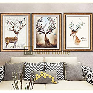 ABM Home -Deer (51cm x 66cm/each Frame/3pcs set) Wall Art, Wall Picture Frame, Vintage Style,Framed Canvas (Luxury Gold, A)