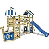 WICKEY Parque infantil de madera StormFlyer con columpio y tobogán azul, Casa de juegos de jardín con arenero y escalera para