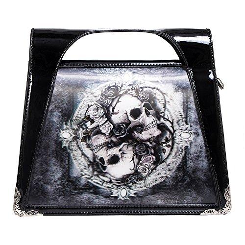 Borsa Alchemy Gothic 3D Skull & Roses (Nero) Nero