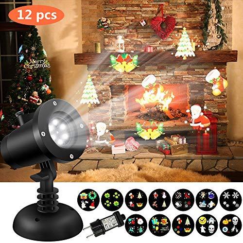 Proiettore Luci Natale, SOLOMORE Proiettore Lampada LED Proiettore Esterno& Torcia Palmare con 12 Diapositive Patterns e Treppiede, Luci Natalizie Portatili per Halloween Natale Festa