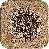 Azeeda 4 x Mandala Decorativo Posavasos de Corcho Cuadrados de 10cm (CR00149544)