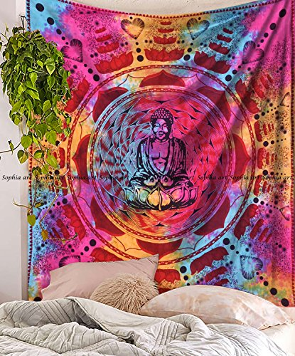 Baumwolle Hippie TYE Dye Meditation Buddha Wandbehang Bohemian Überwurf Decor Tagesdecke Wandteppich Yoga Matte, Wanddekoration ()