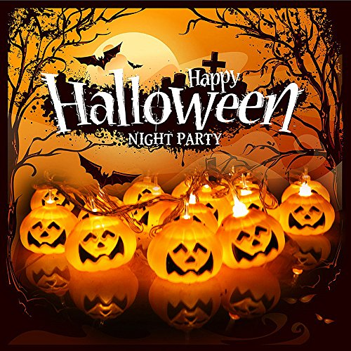ELINKUME® Halloween Kürbis Lichterkette, 16LED Festival Dekoration Lampe String, Batteriebetrieben 2.5M/8.20ft, Perfekt für Urlaub, Festival, Party (Outdoor Halloween)