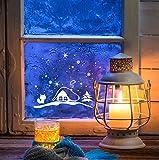 ilka parey wandtattoo-welt® Fensterbild Weihnachten selbstklebend Fensterdeko Weihnachtsdeko Sterne Fuchs weiß M1235