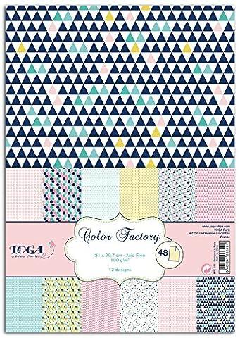 Loisirs Creatifs Scrapbooking - Toga PPK011 Géométrique Pastel Lot de 48
