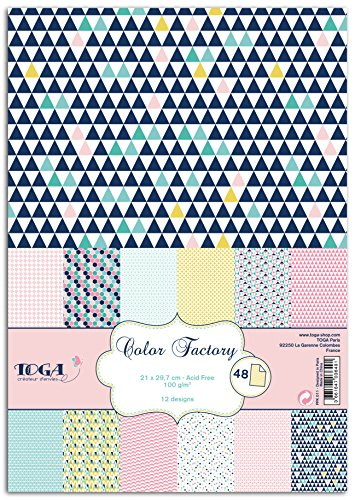 Unbekannt Toga ppk011Geometrische Pastell 48Stück aufgedruckten Blätter Papier Mehrfarbig 21x 29,7x 0,1cm