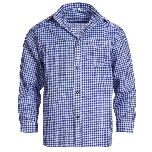 Herren Set Lederhose Dunkelbraun und Trachtenhemd Blau Weiß Kariert Gr. Hose 46 Hemd S - 2
