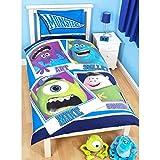 Disney Monstres Academy - Parure de lit simple réversible - Enfant (Lit simple) (Bleu)