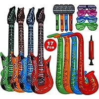 17 stück große größe buntes aufblasbare instrumente spielzeug,enthält: 4x aufblasbare gitarre(93cm),4×aufblasbares saxophon (70cm),4× aufblasbares mikrofon,4×shutter shading gläser,manuelle luftpumpe