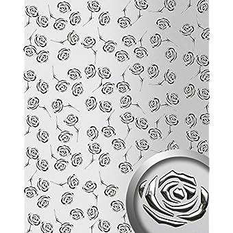 3D ROSE revestimiento mural WallFace 13919 autoadhesivo diseño rosas perforadas con hoja base plata metalic 2,60 m2