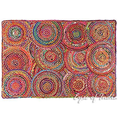 Eyes of India - 4 x 6 ft bunt gewebt Jute Chindi geflochten Bereich dekorativ Fleckerlteppich Indische Böhmisch (Jaipur Rugs)