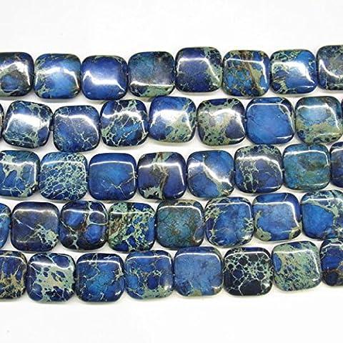 thetastejewelry 12mm eckig blau Sea Sediment Jasper Perlen 38,1cm 38cm Halskette Heilung Schmuck herstellen–4546