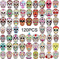 120 Pieces Skull Stickers Halloween Sugar Skull decals dia de los muertos Mexican Day of Dead Sticker for Laptop Water Bottle Luggage Bike Computer