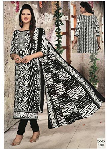 Mishri Collection Salwar Kameez Dupatta Indian Dress Material in Black & White...