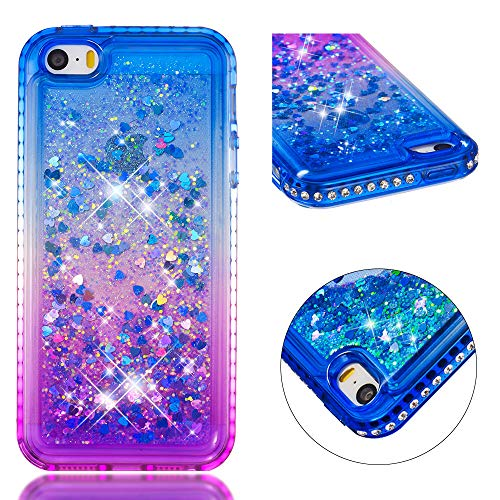 Cozy Hut Hülle iPhone SE/5/5s Glitzer Handyhülle,Cover Diamond Bumper Case Schutzhülle für iPhone SE/5/5s - Farbverlauf blau lila -