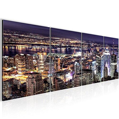 Quadro new york city decorazione murale 160 x 50 cm vello - decorazione da parete misura xxl salotto appartamento decorazione stampe artistiche azzurro a 4 pezzi - 100% made in germany - pronte per l'applicazione 600646a