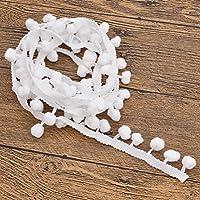 YNuth 5m de Encaje con Borla de Pompones Cinta Tejiada de Flecos de Bola para Costura DIY de Color Blanco