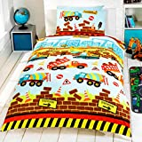 Kidz Under Construction Diggers and Trucks Bedding Set, Multi-Colour, Single