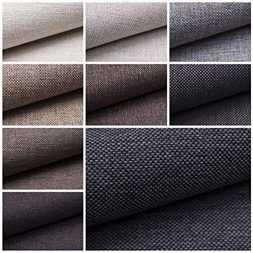 Stoff (novely® MUDAU | Polsterstoff | Meterware | Möbelstoff | Webstoff | Struktur-Stoff | Mélange | Grober Handwebcharakter | 17 Farben (12 Dunkelgrau))