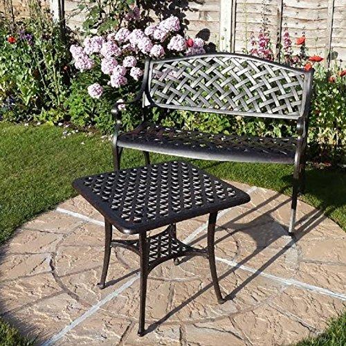 Lazy Susan – JASMINE Gartenbank und SANDRA Quadratischer Kaffeetisch – Gartenmöbel Set aus Metall, Antik Bronze (Grünes Kissen) - 4