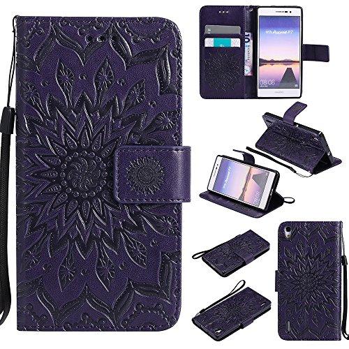 Für Huawei P7 Fall, Prägen Sonnenblume Magnetische Muster Premium Soft PU Leder Brieftasche Stand Case Cover mit Lanyard & Halter & Card Slots ( Color : Blue ) Purple
