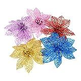 VORCOOL 10pst Simulierte Weihnachten Künstliche Blumen Kunststoff Dekorative Blumen für Weihnachtsbaum (Rot)