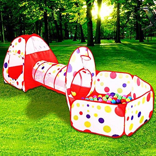 Goodlucky365 Juegos Para Niños Tienda de Juego Infantil Piscina de bolas Con Túnel - Cubby de Tubo- Tipi Zona de Juegos 3pcs pop -Arriba Casa de Juego Exterior Y Interior
