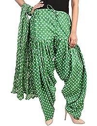 BILOCHI'S Women Printed Solid Cotton Full Patiala Salwar With Dupatta Set(Free Size, Green)