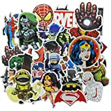 FOCCTS 100pcs Planche de Stickers Colorés Super héros Autocollants puffies Ordinateur Portable Planche À roulettes Bagage Moto Auto vitrine Imperméable Graffiti Marvel Autocollant