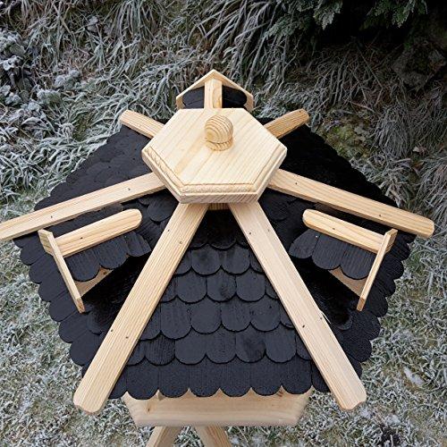 Qualitäts Vogelhaus mit Holzschindeln 6 Eck lasiert Vogelhäuser-Vogelfutterhaus großes Vogelhäuschen-aus Holz Wetterschutz (Schwarz) - 2