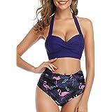 Voqeen Bikini Mujeres Traje de baño de Cintura Alta de Dos Piezas de Playa Ajustables Conjunto de Bikini Set Sling Swimwear T