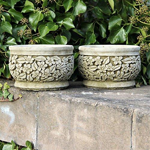 Par Flores macetas macetas Handcast piedra adorno de jardín hogar patio decoración regalo