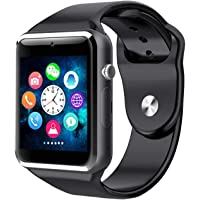 10WeRun M9 Bluetooth Smart Watch for Men Boys Kids Girls Compatible with All Android Phone (Black/Blue)