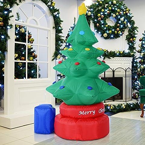 Grande décoration de jardin, Homcom de 2,1m, grand arbre de Noël gonflable, électrique et rotatif, décor de 6lumières LED animées