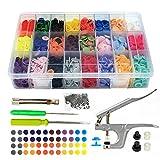 Interlink 375 Druckknopf Set mit Zange Snap Zange T5 Druckknopf set mit Zange Nähen in 25 Farben Nähfrei Buttons für DIY Basteln (mehrfarbig)