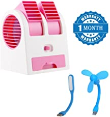 Promptout Mini-Portable Dual Bladeless Small Air-Conditioner Water Air Cooler Powered by USB and Battery with USB Mini Fan