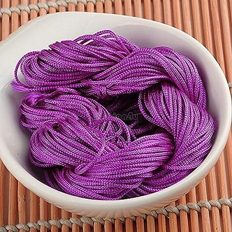 Nueva 1mm Macrame cola de rata china Knotting de nylon que rebordea la cuerda joyería hilo púrpura EQB165