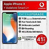Apple iPhone X (Silber) mit 64 GB internem Speicher, Vodafone Smart L+ inkl. 7GB Highspeed Volumen mit Max 500 Mbits, inkl. Telefonie- und SMS Flat, EU-Roaming, 24 Monate Min. Laufzeit, mtl. € 41,99