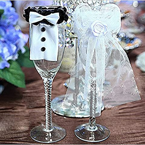 Dairyshop Toasting Wine Glasses with Bride & Groom Tux Bridal Veil for Wedding Party