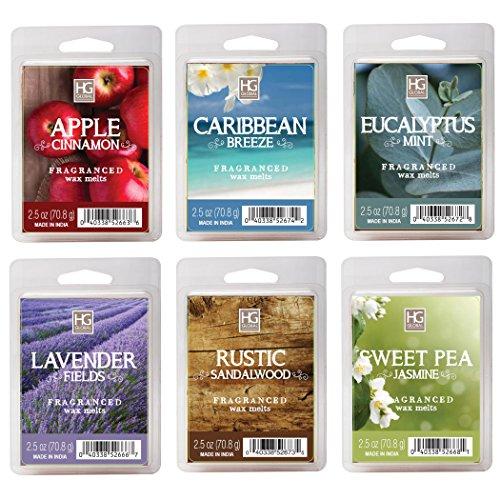 HOSLEY 's Set of 6verschiedene Wachs Cubes–2,5Oz. Apple Cinnamon, Karibik Breeze, Eukalyptus Minze, Lavendel, rustikalen Sandelholz, Sweet Pea