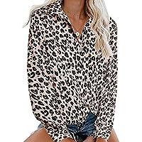 Camisa De Mujer Leopardo Blusa Cuello En V De Manga Larga Botones Camisetas Cuello En V Camisas De Vestir Mangas Cortas Casual Oficina BáSico Suelto Casual Dias
