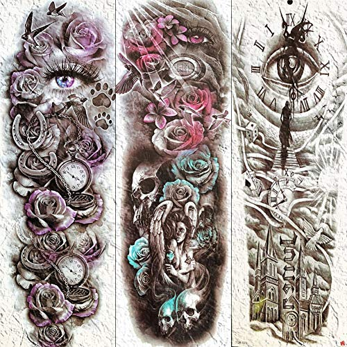 Lange Blume Voller Arm Temporäre Tattoos Für Frauen Männer Sommer Tatoos Tod Schädel Engel Auge Body Art Wasserdicht Fake Tattoo Aufkleber 21X15 (Engel Des Todes Kostüm Frauen)