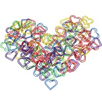 AFASOES 105 pcs Paper Clips Heart Shaped Binder Clips Holder Metal Paper Clamps Coloured Bookmark Marking Clips Document Organizing Clip School Office Supplies for Memo, Paper, Poster, Photo(6Colors)